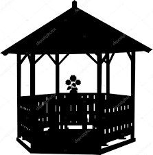 House Silhouette by Summer House Or Arbor Or Gazebo With Flower Silhouette U2014 Stock
