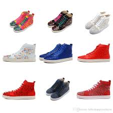new black white red rainbow rivet casual shoes for men and women