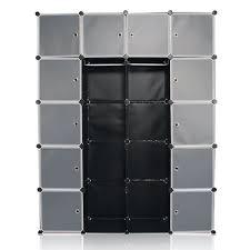 rangement armoire chambre sungle armoire chambre en plastique noir étagère rangement 12