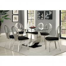 Silver Dining Tables Orla Contemporary Silver And Black Dining Table Set Shop For