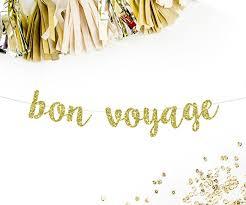 bon voyage cursive banner gold glitter going