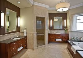 Free Standing Bathroom Vanities by Wood Tub Deck Bathroom Traditional With Wall Sconce Mahogany