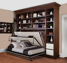 bedroom living room design idea with brown wooden wall shelf