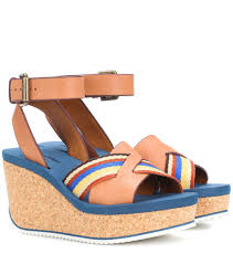 leather and canvas wedge sandals see by chloé mytheresa