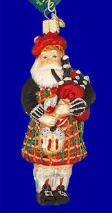 scottish highland bagpipes player glass ornament world
