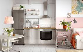 edelstahl küche moderne küche mit grevsta fronten in edelstahl und freistehendem