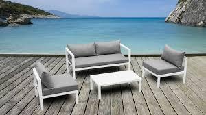 salon de jardin aluminium amapa canapé 2 places 2 fauteuils table
