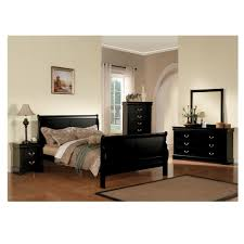 Black Dresser And Nightstand Curved Queen Bed Dresser Mirror U0026 Nightstand In Black Sam