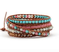 wrap bracelet with beads images Buy high end mix natural stones 5 layers leather jpg