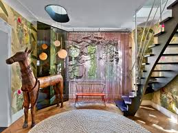 colorful eclectic interior design is collage of travels and memories
