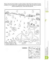 dot to dot and coloring page umbrella gumboots frog happy