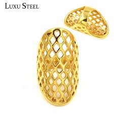big gold rings images Luxusteel 316l stainless steel rings eaggerated style honeycomb jpg