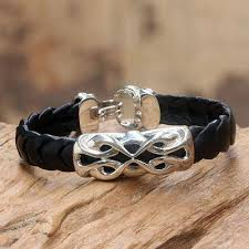infinity bracelet leather images Men 39 s sterling silver and leather bracelet infinity novica jpg