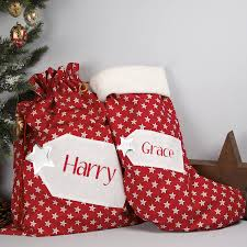 personalised star christmas stocking by the alphabet gift shop