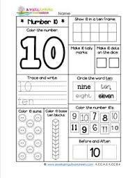 number worksheets for kindergarten number 10 worksheet