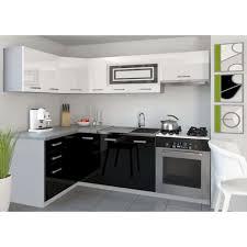 cuisine noir et blanc laqué justhome lidja p l cuisine équipée complète 130x230 cm couleur noir