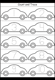 cars number tracing 1 10 printable worksheets pinterest