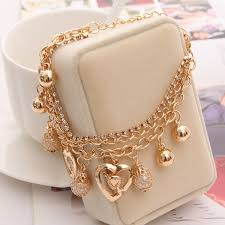 gold pendant chain bracelet images Hesiod fashion jewelry heart pendant multi layer gold color chain jpg