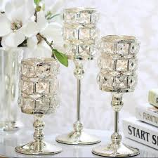 candelabra centerpiece new peculiar metal silver single candle crystals holder wedding