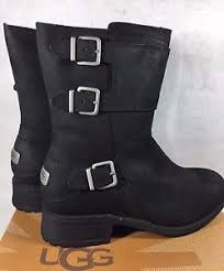 uggs womens boots on ebay ugg wilcox water resistant nubuck leather sheepskin buckle moto