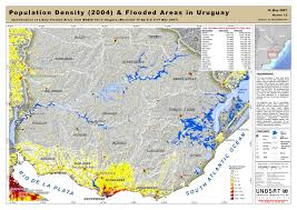 Map Of Uruguay Map Of Population Density 2004 And Flooded Areas In Uruguay Unitar