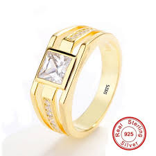 gold color rings images Buy new fashion men silver gold ring real 925 jpg