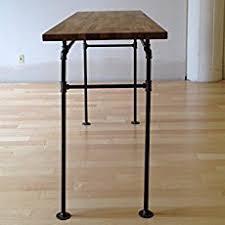 Steel Pipe Desk Amazon Com Standing Desk Black Steel Pipe And Wooden Butcher