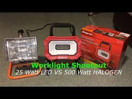 hdx portable halogen work light 25 watt led vs standard 500 watt work light hdx vs snap on youtube