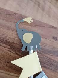 elephant cake bunting lemon and grey personalised cake topper