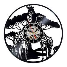 creative clocks giraffe safari theme creative wall décor vinyl clock readytogift
