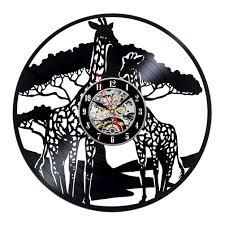creative clocks giraffe safari theme creative wall décor vinyl clock readytogift