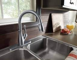 pleasing single handle pulldown kitchen faucet brushed nickel