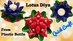 how to make lotus diya candle stand from plastic bottle diwali