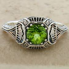 genuine peridot antique art deco design 925 sterling silver ring