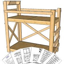 Twin Extra Long Size Bunk Bed Plans Tall Height OP Loftbed - Height of bunk beds