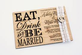 Eat Drink And Be Married Invitations Eat Drink U0026 Be Married Wooden Wedding Invitation Engraved Heart