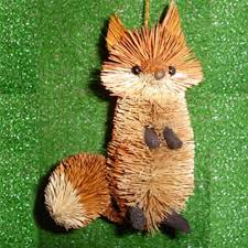 brushart fox ornament bristle animal ornaments brush animals