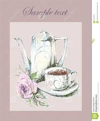 illustration of the beautiful menu with a coffee pot and a rose