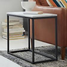 narrow side tables for living room box frame narrow side table marble antique bronze west elm
