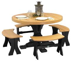 furniture round hardwood table and four curved backless benches