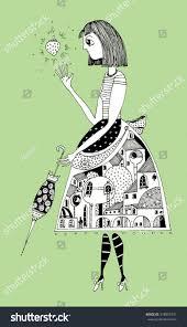 citizen illustration umbrella strawberry town stock