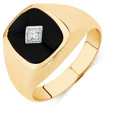 onyx engagement rings men s diamond set ring with black onyx in 10kt yellow gold