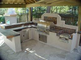 Blue Floor L L Shaped Bbq Island Plans White Concrete Flooring Gray