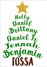 family names made into a christmas tree custom made for your