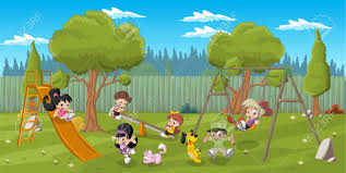 The Backyard by Cute Happy Cartoon Kids Playing In Playground On The Backyard