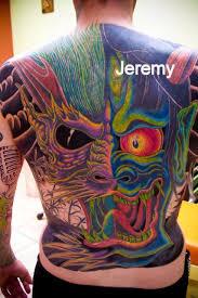 famous japanese mask tattoo on back tattooshunter com