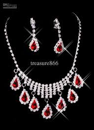 earring necklace ruby images Crystal bridal jewelry set ruby necklace and earring women 39 s jpg