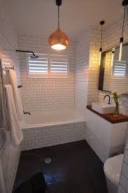Light Tile With Dark Grout White Tile With Dark Grout Bathroom Contemporary With Gold Pendant