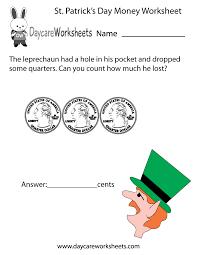 free preschool st patrick u0027s day money worksheet