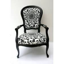 The Angular Skull Armchair Louis Xv Style Chair In Skull Fabric Polyvore